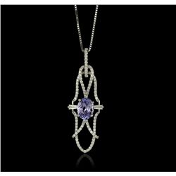 18KT Gold 1.43ct Tanzanite and Diamond Pendant With Chain