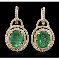 14KT Yellow Gold 5.84ctw Emerald and Diamond Earrings