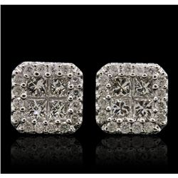 14KT White Gold 1.48ctw Diamond Earrings