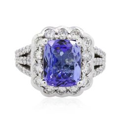 14KT White Gold 3.21ct Tanzanite and Diamond Ring