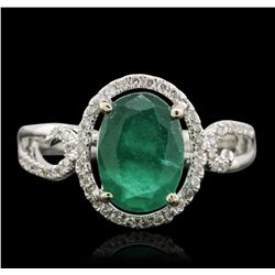 14KT White Gold 2.07ct Emerald and Diamond Ring