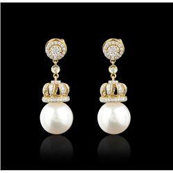 18KT Yellow Gold 12.75mm Pearls & Diamond Earrings FJM2525