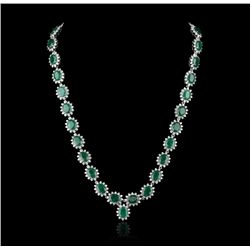 14KT White Gold 39.00ctw Emerald and Diamond Necklace FJM2219