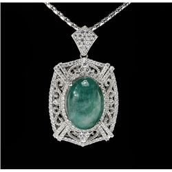 SILVER 28.43ct Emerald and White Sapphire Pendant with Chain RM822