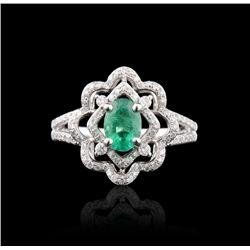 14KT White Gold 0.99ct Emerald & Diamond Ring FJM2560