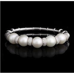 14KT White Gold Pearl and Diamond Bangle Bracelet FJM2373