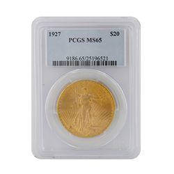 1927 $20 PCGS MS65 St. Gaudens Double Eagle Gold Coin GFR49