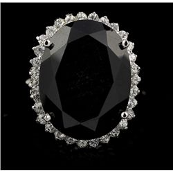 SILVER 27.08ct Blue Sapphire and White Sapphire Ring RM769