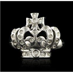 14KT White Gold 0.15ctw Pave Diamond Ring GB437