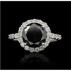 14KT White Gold 4.26ctw Black and White Diamond Ring RM872