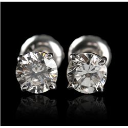 14KT White Gold 1.01ctw Diamond Solitaire Earrings A4417