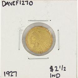 1927 $2 1/2 Indian Head Quarter Eagle Gold Coin DAVEF1270
