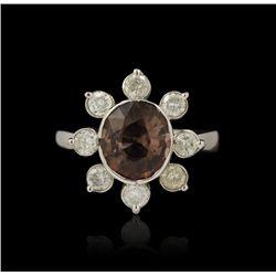 14KT White Gold 2.84ct Pink Tourmaline & Diamond Ring A4730