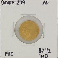 1910 $2 1/2 AU Indian Head Quarter Eagle Gold Coin DAVEF1279