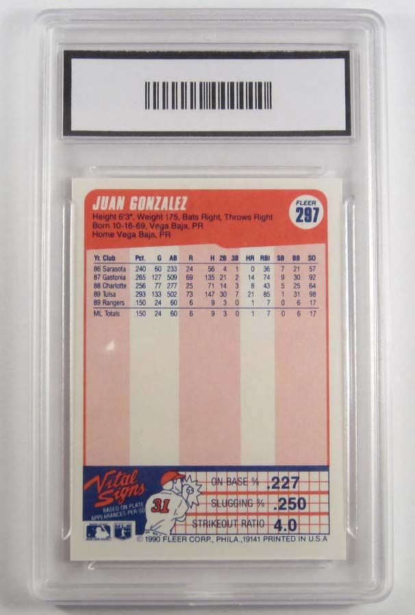 1990 Fleer 297 Juan Gonzalez Rookie Baseball Card Gma Nm