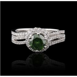 18KT White Gold 0.80ct Green Diamond & White Diamond Wedding Ring FJM2545
