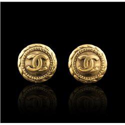 Chanel Vintage Vermeil CC Logo Button Clip On Earrings GD418