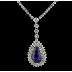 18KT White Gold 5.17ct Tanzanite and Diamond Necklace FJM2356