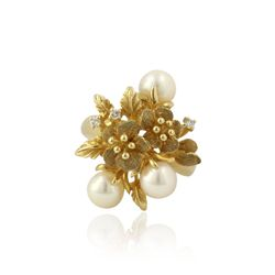 14KT Yellow Gold 0.03ctw Diamond & Pearl Ring GB1302