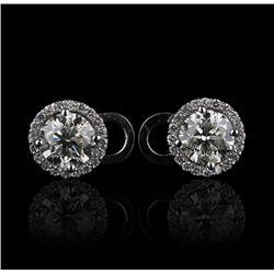 14KT White Gold 3.26ctw Diamond Stud Earrings FJM2130