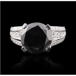 18KT White Gold 6.58ct Black Diamond & White Diamond Ring FJM2542