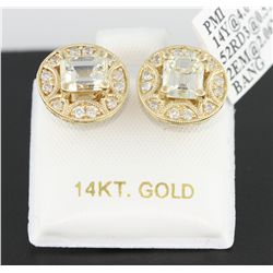 14KT Yellow Gold 2.57tcw Diamond Earrings J102