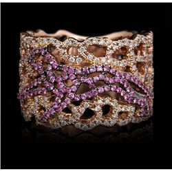 14KT Rose Gold 0.35ctw Pink Sapphire and Diamond Cheetah Ring FJM2502
