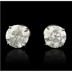 14KT White Gold 3.18ctw Diamond Solitaire Earrings A4252