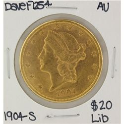 1904-S $20 Liberty Head Double Eagle Gold Coin AU DaveF1254