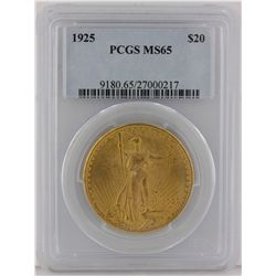 1925 $20 PCGS MS65 St. Gaudens Double Eagle Gold Coin GOP48