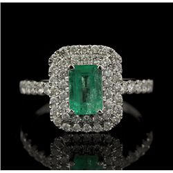 18KT White Gold 0.50ct Emerald and Diamond Ring FJM2259
