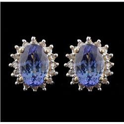14KT Yellow Gold 7.06ct Tanzanite and Diamond Earrings A4541