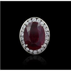 14KT White Gold 11.67ct Ruby and Diamond Ring J18