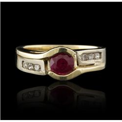 14KT Yellow Gold 0.70ct Ruby & Diamond Ring GB1200