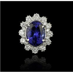 14KT White Gold 5.45ct Tanzanite and Diamond Ring A4134