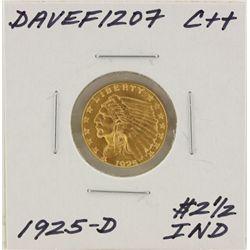 1925-D $2 1/2 C++ Indian Head Quarter Eagle Gold Coin DaveF1207