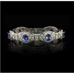14KT White Gold 13.10tcw Tanzanite and Diamond Bracelet A4005