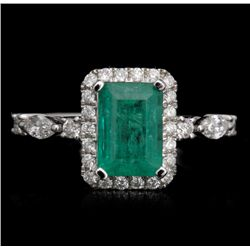 18KT White Gold 1.43ct Emerald and Diamond Ring FJM2483