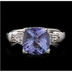 14KT White Gold 3.25ct Tanzanite and Diamond Ring A4570