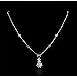 14KT White Gold 6.71ctw Diamond Floral Motif Dangle Necklace A4179