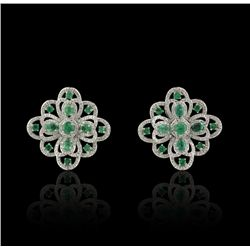 14KT White Gold 3.07ctw Emerald and Diamond Earrings FJM2467