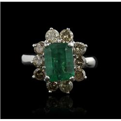 14KT White Gold 2.92ct Emerald and Diamond Ring A4398