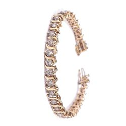 14KT Yellow Gold 8.25ct Diamond Tennis Bracelet A3768