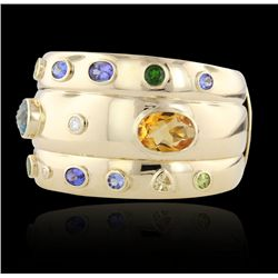 14KT Yellow Gold Multi-Gemstone and Diamond Cuff Bracelet A4033