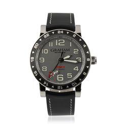 Gents Graham Silverstone Time Zone Silver Wristwatch GB1314