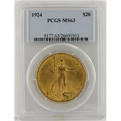 1924 $20 PCGS MS63 St. Gaudens Double Eagle Gold Coin DaveF1238