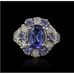 14KT White Gold 3.79ctw Tanzanite and Diamond Ring RM863