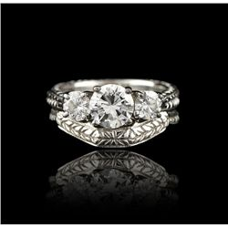 18KT White Gold 1.00ct VS-2 Clarity F Color Diamond Wedding Set A4095