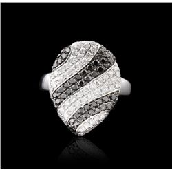 18KT White Gold 1.38ctw Black & White Diamond Ring FJM2572