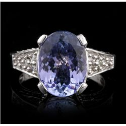 14KT White Gold 4.71ct Tanzanite and Diamond Ring A4542